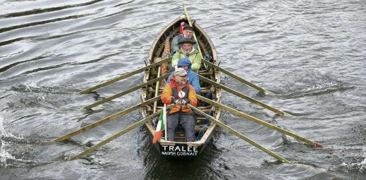© Provided by Irish Independent Danny Sheehy, Liam Holden, Breandan O Beaglaoich and Breandan O Muircheartaigh in their currach