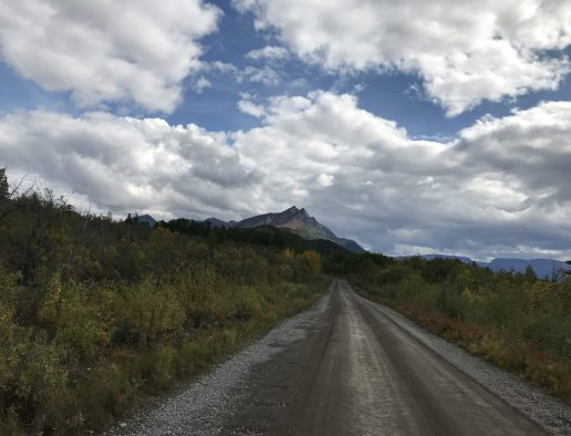The McCarthy Rd with views of The St. Elias Mountains