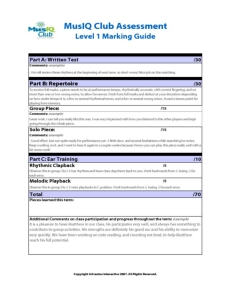 L1: Assessment Marking Guide