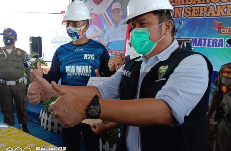 H2G Dampingi Gubernur HD Resmikan Pembangunan Stadion Sepakbola Standar FIFA Musi Rawas