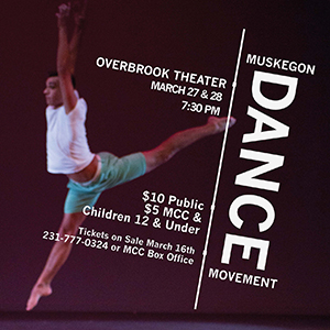 A poster showing a dancer in motion promotes the Muskegon Dance Movement show in March 2015