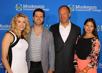 Ashley and Nick Sarnicola pose with Jon Rooks and his partner, Patricia DuBois, at the June 3 announcement in the former Masonic Temple building.