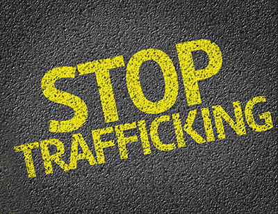 Stop Trafficking written on the road