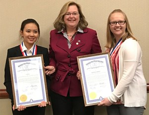 MCC students Van Vu (left) and Michaela Bosset (right), who were named to the 2017 All-Michigan Academic Team, with State Representative Holly Hughes.