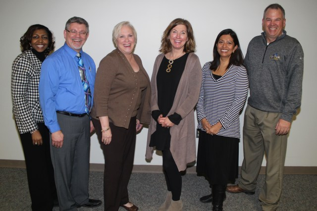 Muskegon Community College 10-year and 15-year Service Award recipients are: (left to right) Magnolia Jones (10), Robert Ross (10), Chris Patterson (10), Rebecca Evans (15), Sylvia Hayes (15) and Marty McDermott (10). Not pictured are: Tonette Brown-Gardner (15), Donella Cooper (15), Char parker (15), Dan Rypma (15), Kurt Troutman (15), and Susan Zemke (15).