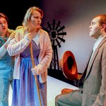Joshua Powles (Buddy Layman), Sylvia DeBruyn (Jennie Mae Layman), and Brandon Lemieux (C.C. Showers) in MCC's 2018 production of The Diviners