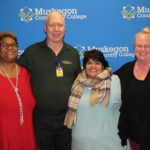 Receiving awards for their long service to MCC were: (left to right) Tammisha Morris (25 years), Tom Wolters (20 years), Carmella Martinez (30 years) and Carolyn Kamerad (30 years).