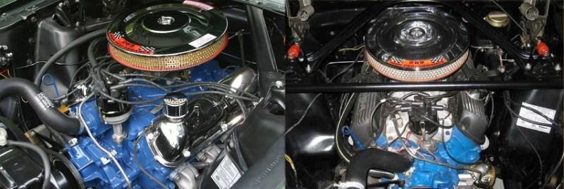 Po prawej charakterystyczne dla GT350 aluminiowy INTAKE ipokrywy zawrów