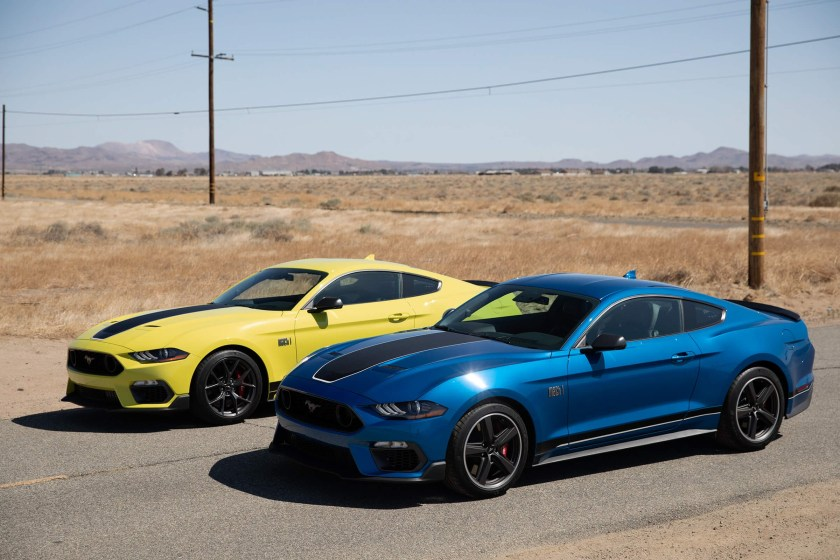 Yellow and Blue 2021 Ford Mustang Mach 1 Parked Side by Side