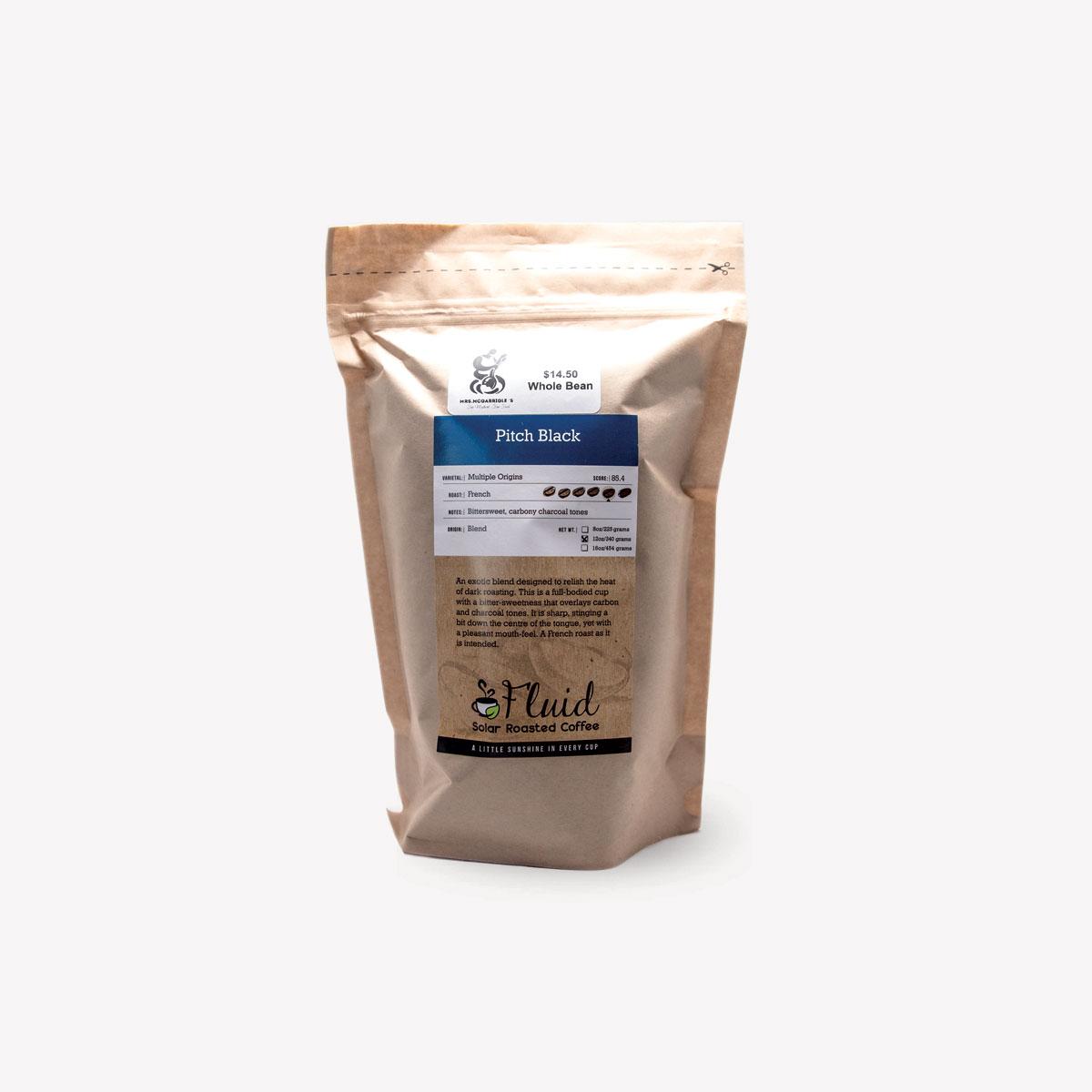 Fluid Solar Roasted Coffee Pitch Black Coffee