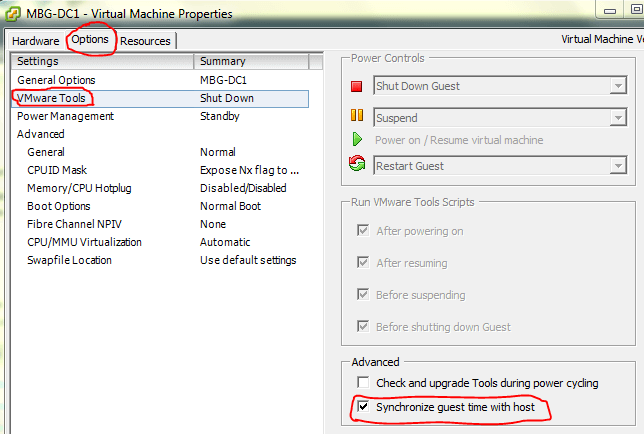 sync time between vm and host