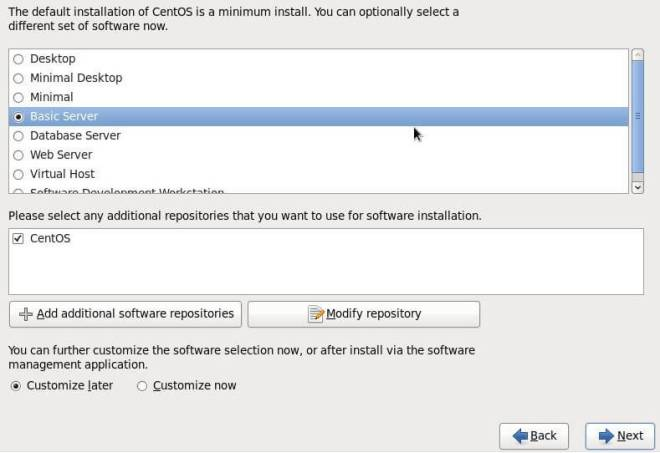 Default CentOS Installation