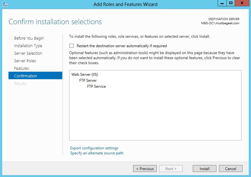 Configure FTP Server in Windows Server 2012