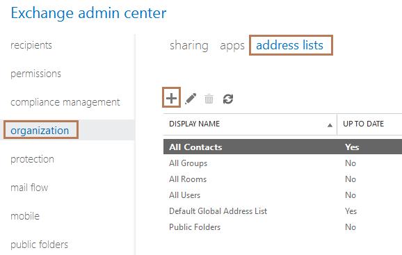 Configure Address Lists in Exchange Server 2013