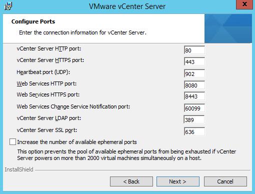 vCenter Ports