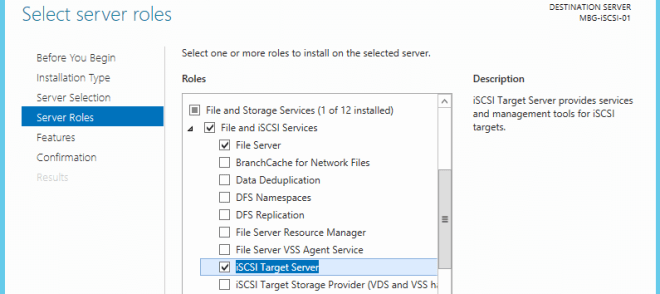 7. Select iSCSI Target Server role