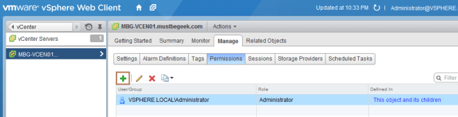 add permission to vCenter