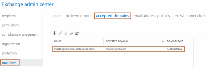 Configure Accepted Domain in Exchange 2016