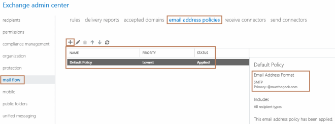 default email address policy