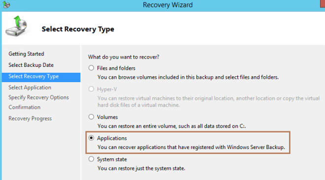 applications recovery type