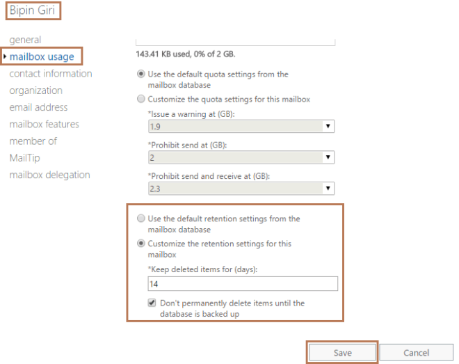 Recover Deleted Mailbox Item in Exchange 2016