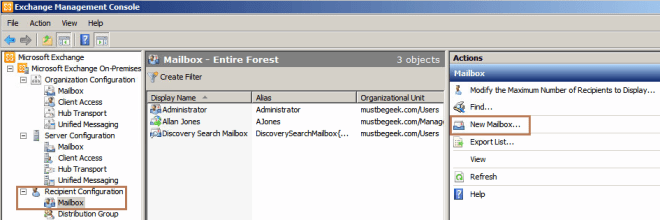 Create User Mailbox in Exchange 2010