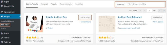 Add Author Info using Simple Author Box Plugin in WordPress