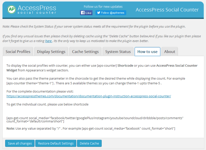 Setup AccessPress Social Counter Plugin in WordPress