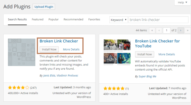 broken link checker -- 7 WordPress Maintenance Tasks