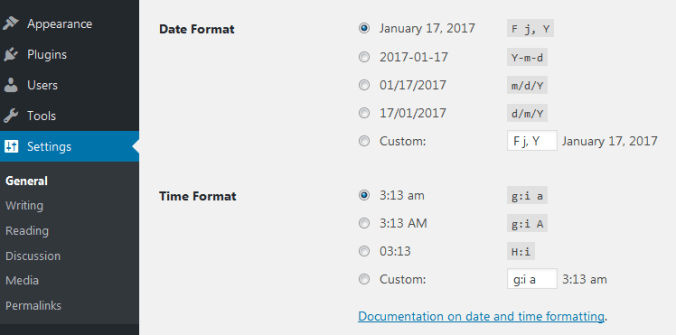 Changing the Date and Time Formats in WordPress