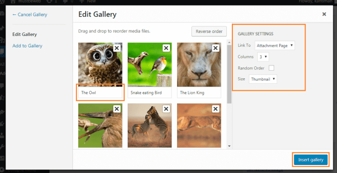 gallery setting - Adding Image Gallery in WordPress