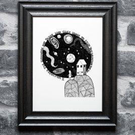 Girl & Universe- A4 Unframed Print