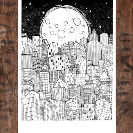 Moon and city flat
