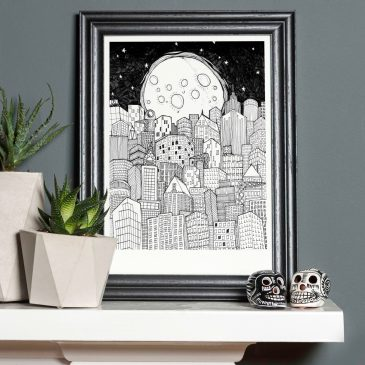 Moon & City – A4 Unframed Print