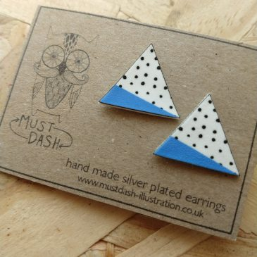 Triangular Geometric Earrings – Blue