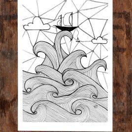 Ship & Sea – A5 Unframed Print