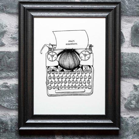 Typewriter on the wall