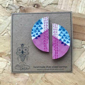 Colourful Geometric Earrings – Semi Circle – Blue & Purple