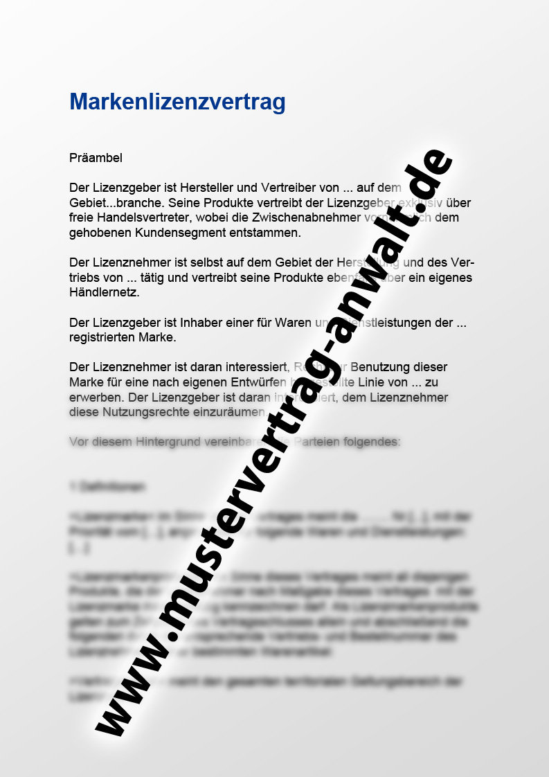 Markenlizenzvertrag Vorschau Mustervertrag Vom Anwalt