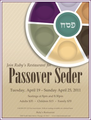 Passover Flyer Party Menu
