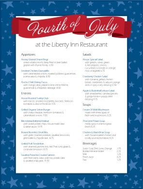 Independence Day Specials Menu 4th Of July Menus
