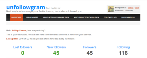 Unfollowgram Dashboard