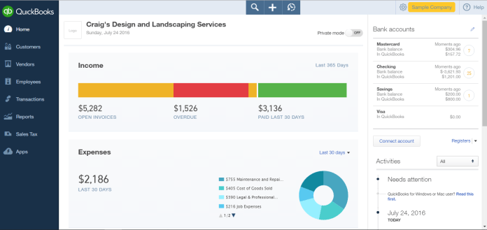Demo of Quickbooks Online Dashboard