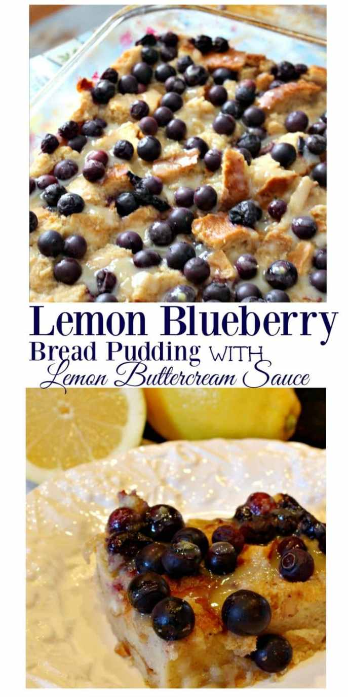 If you love the freshness of Lemon and the comfort of pudding, you will devour this treat! This recipe brings you the BEST Lemon Blueberry Bread Pudding you will ever taste! Click thru to get the recipe for this incredible dessert!