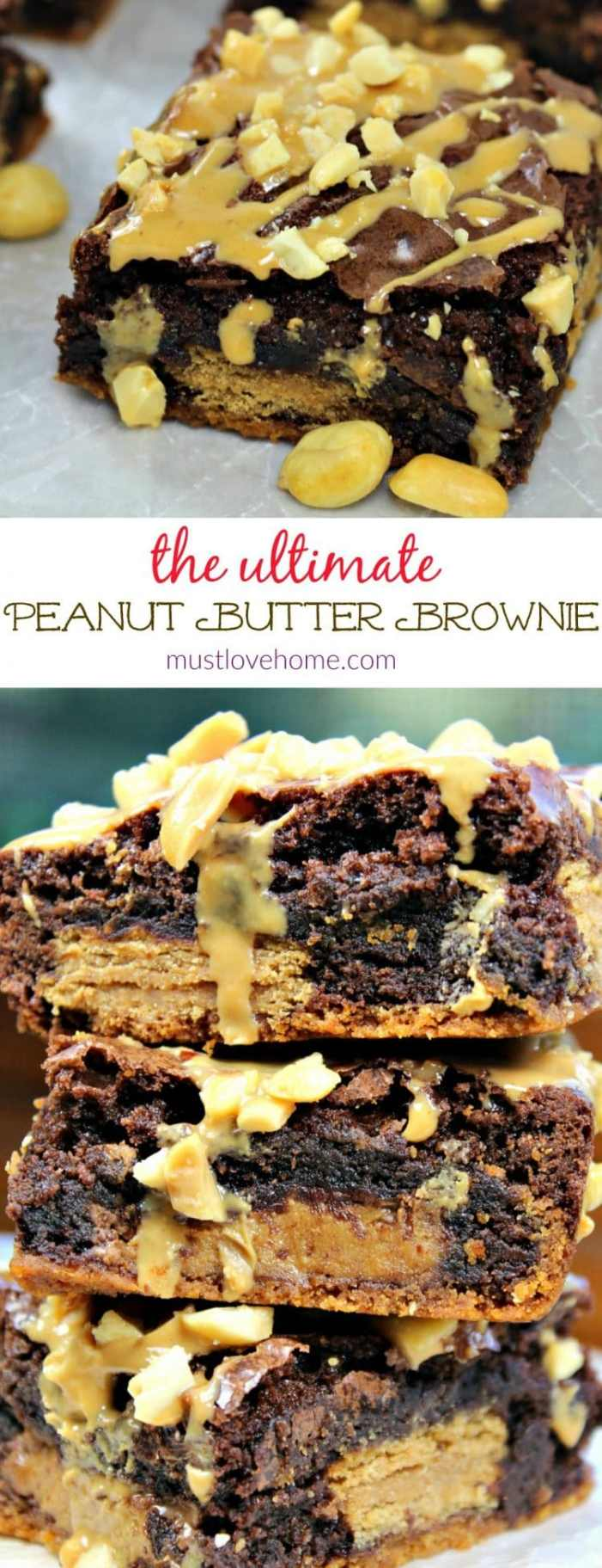 Ultimate Peanut Butter Brownies are peanut butter cookie dough, sandwich cookies, peanut butter cups and a fudge brownie batter that make for an amazingly delicious treat!