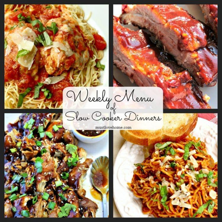 Weekly Menu of Slow Cooker Dinners