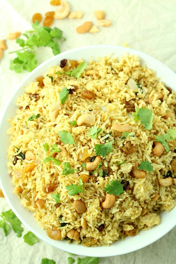 14. Red Curry Rice with Raisins and Cashews