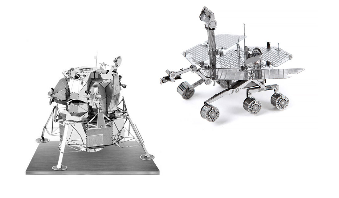 METAL EARTH APOLLO LUNAR LANDER AND MARS ROVER MODELS