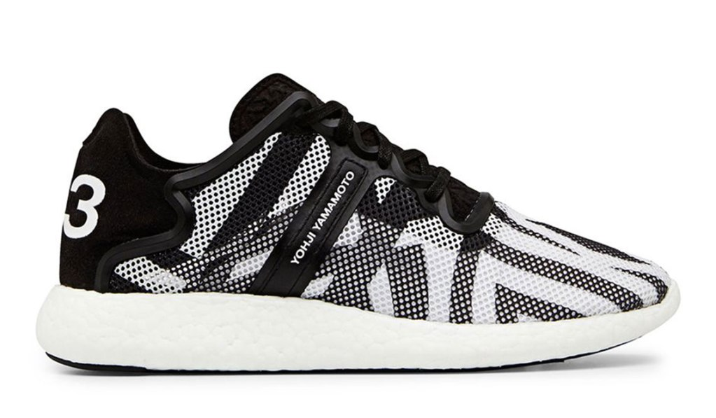 Y-3 YOHJI BOOST BLACK AND WHITE MESH LOW TOP SNEAKER