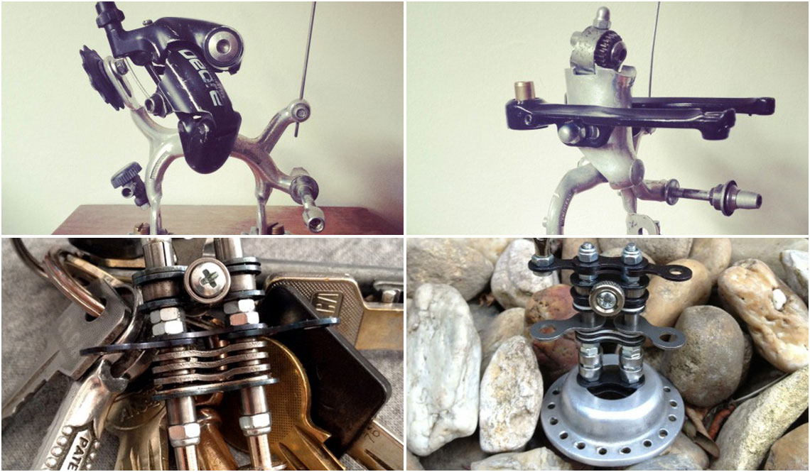 ROBOTS MADE FROM RECYCLED BIKE PARTS
